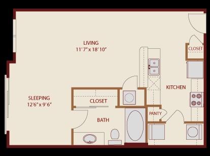 631 sq. ft. 60% floor plan