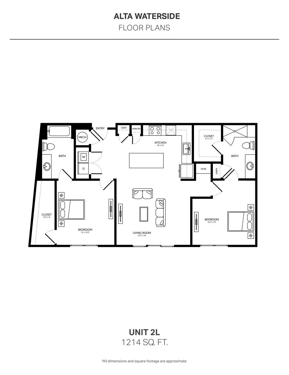 1,214 sq. ft. 2L floor plan