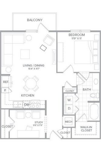 840 sq. ft. A3 floor plan