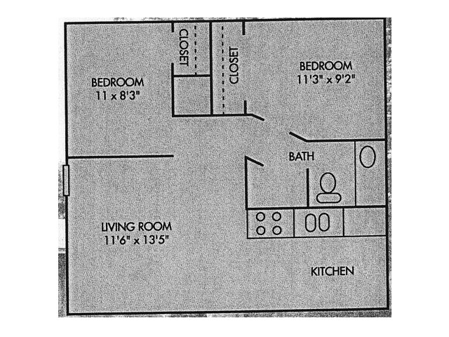 605 sq. ft. floor plan