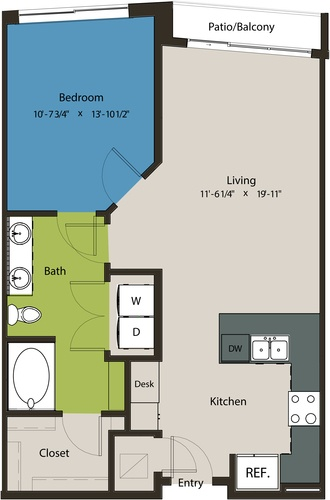 788 sq. ft. A8H floor plan