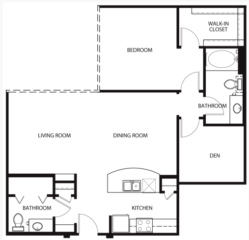 1,056 sq. ft. to 1,169 sq. ft. A3 floor plan
