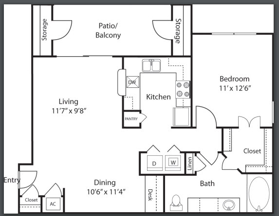 797 sq. ft. to 842 sq. ft. A2 floor plan