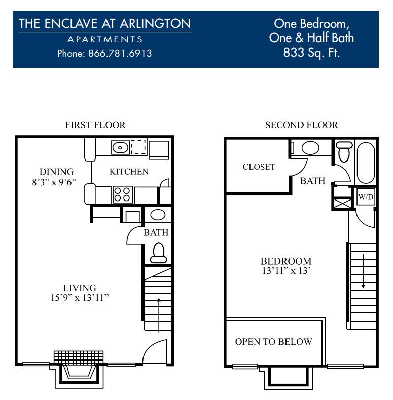 833 sq. ft. F floor plan