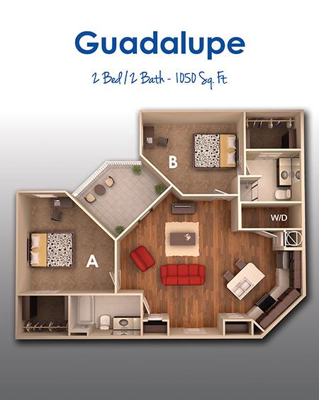 1,025 sq. ft. D floor plan