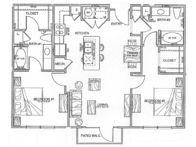 1,057 sq. ft. B1.2 floor plan