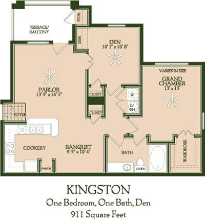 911 sq. ft. Kingston floor plan