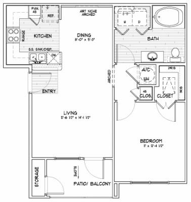 640 sq. ft. A floor plan