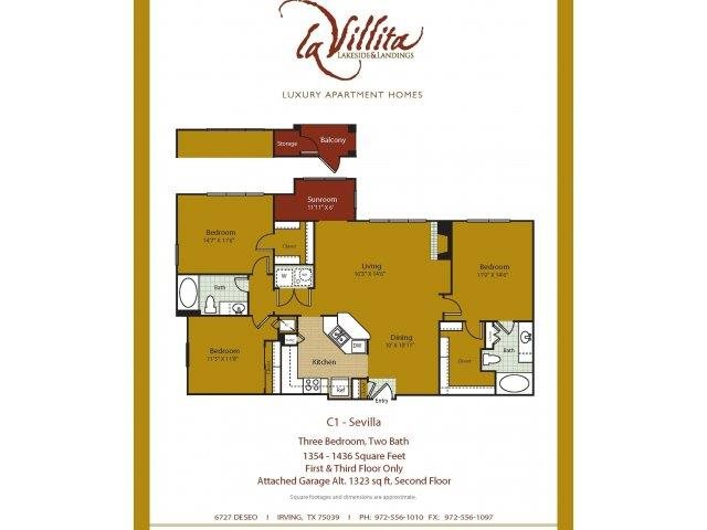 1,323 sq. ft. Sevilla floor plan