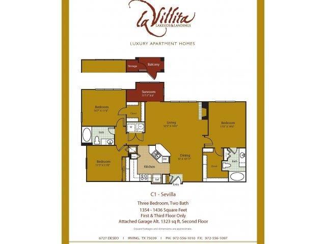 1,323 sq. ft. Sevilla floor plan