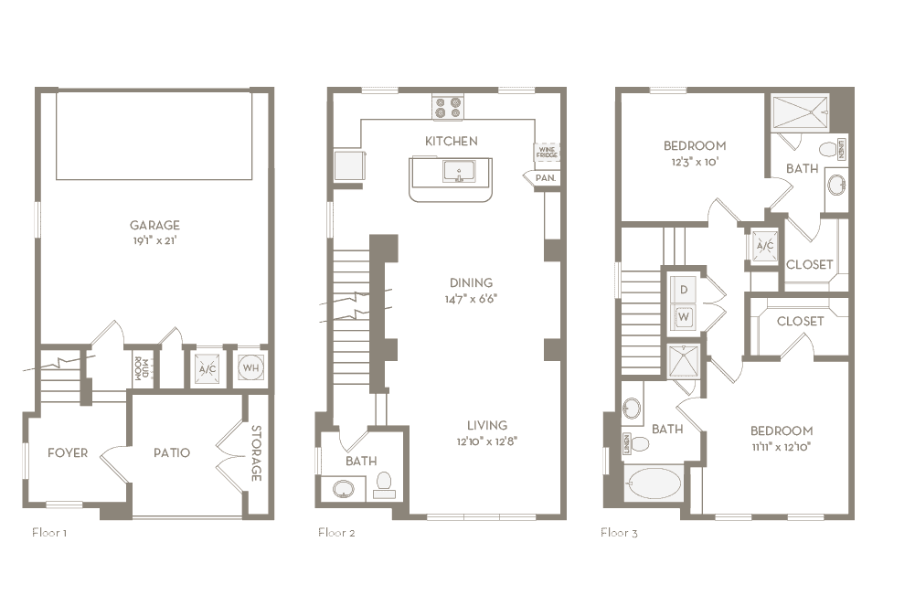 1,499 sq. ft. TH3 floor plan