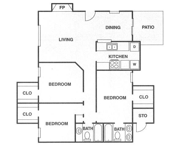 1,240 sq. ft. C floor plan