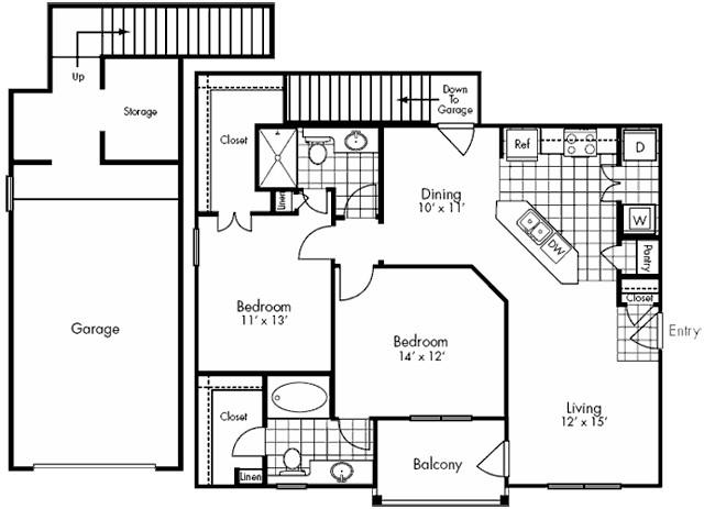 1,106 sq. ft. Congress floor plan