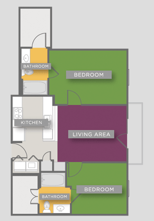 807 sq. ft. B3 floor plan
