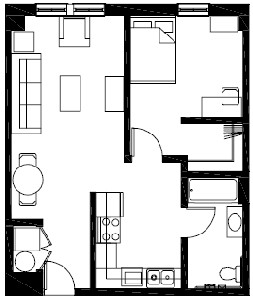 631 sq. ft. A4HC floor plan