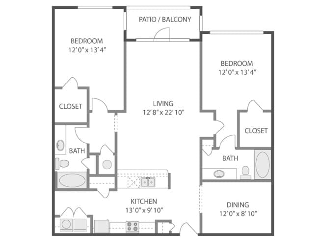 1,372 sq. ft. Woolworth/C7S floor plan