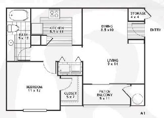657 sq. ft. A1/Austin floor plan
