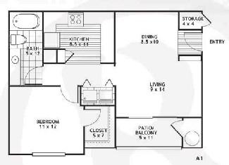 657 sq. ft. A1/AUSTON floor plan