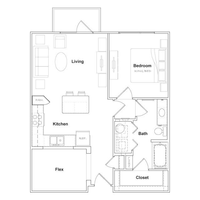 788 sq. ft. A4- floor plan