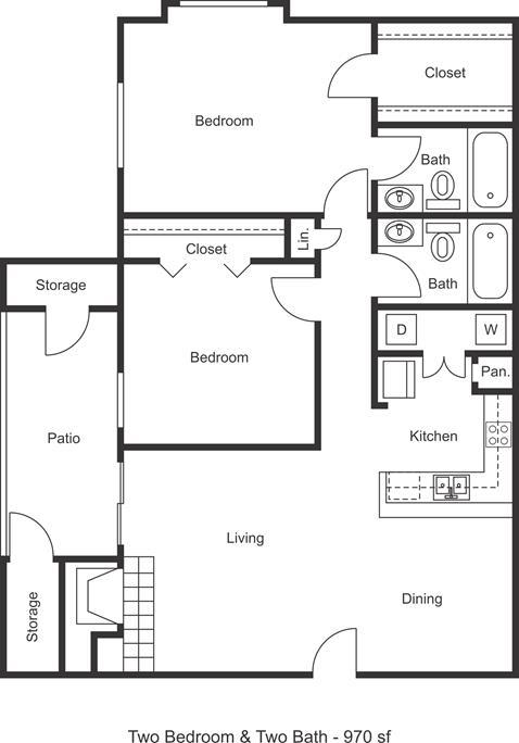 970 sq. ft. floor plan