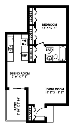 709 sq. ft. One Bed/One Bath floor plan