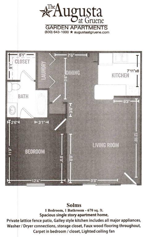 670 sq. ft. Solms floor plan