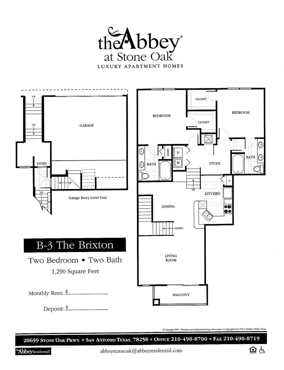 1,290 sq. ft. Brixton floor plan