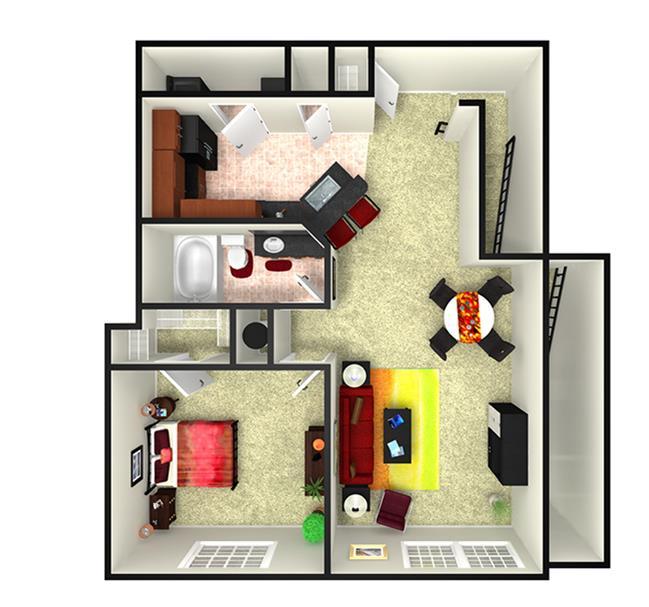 942 sq. ft. A2U floor plan