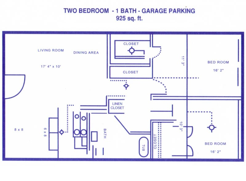 975 sq. ft. B floor plan