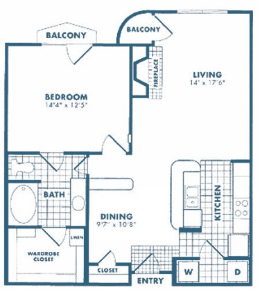 784 sq. ft. to 911 sq. ft. A3 floor plan