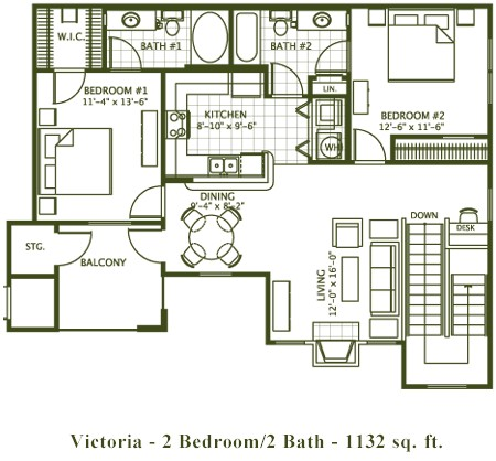 1,132 sq. ft. Victoria floor plan