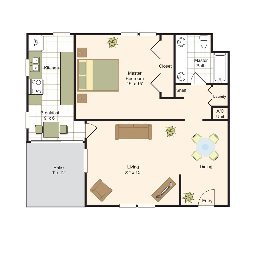870 sq. ft. A floor plan