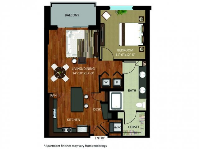 807 sq. ft. A8 floor plan