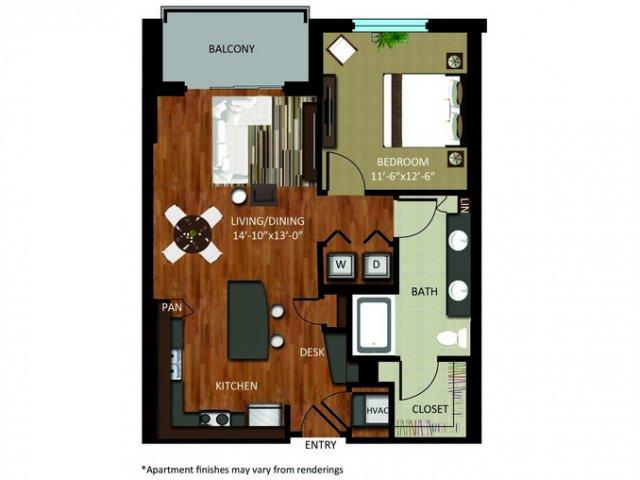 807 sq. ft. A8 floor plan