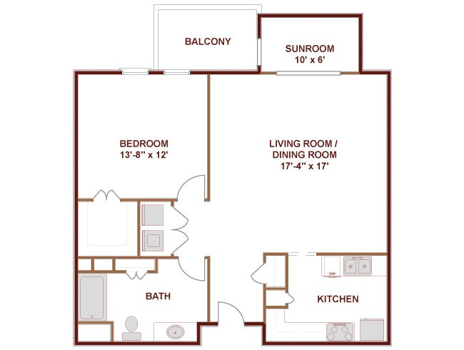 950 sq. ft. to 976 sq. ft. Guadalupe floor plan