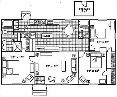 1,311 sq. ft. BRISTOL B floor plan