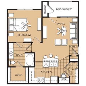 757 sq. ft. Yaupon floor plan