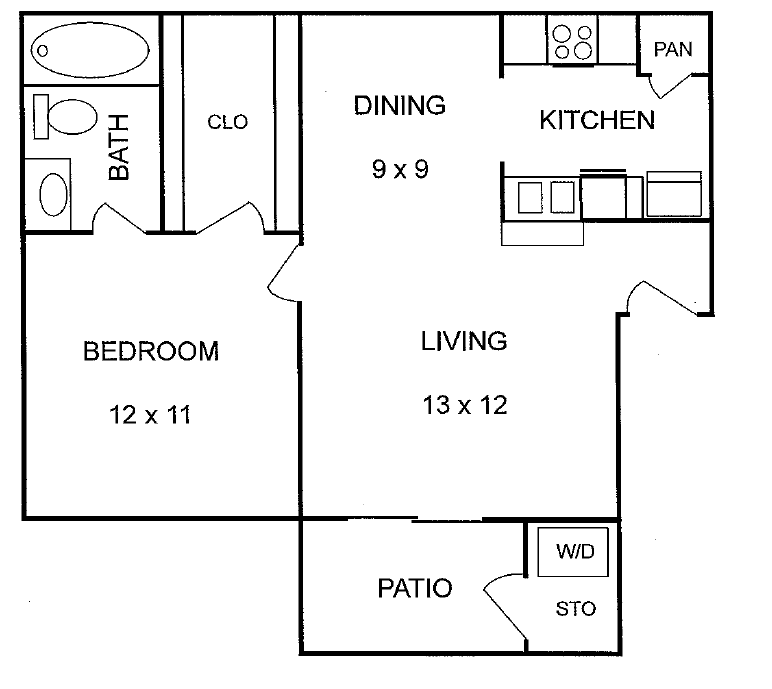 581 sq. ft. Elm floor plan