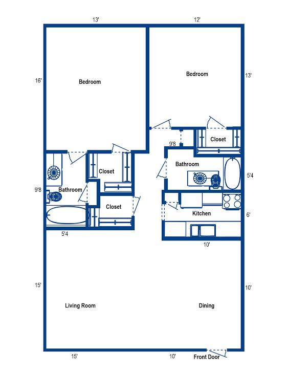 1,050 sq. ft. 2B floor plan