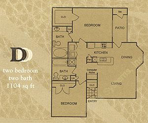 1,104 sq. ft. D floor plan