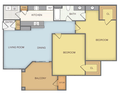 882 sq. ft. Carrington - B1 floor plan
