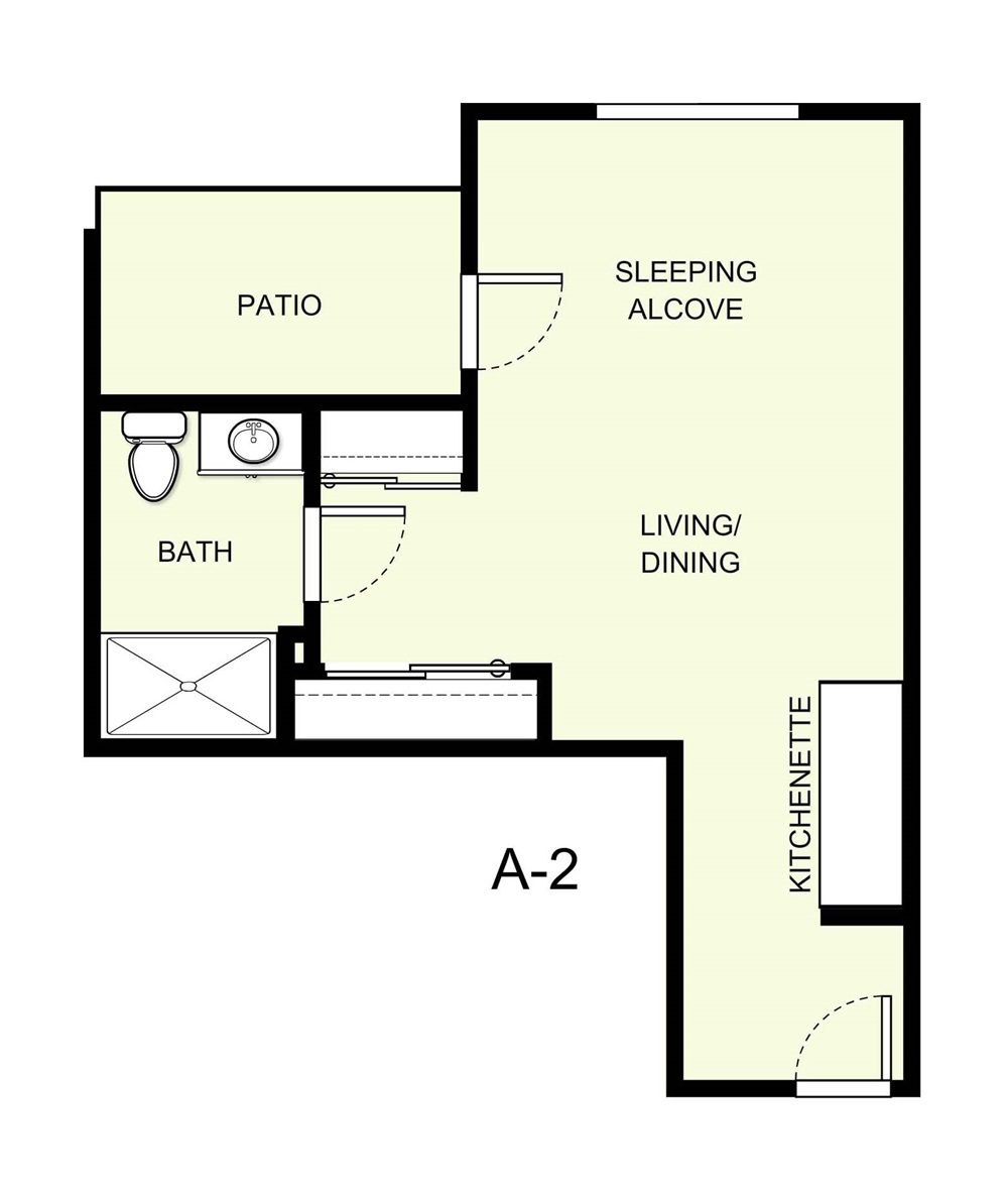 430 sq. ft. A2 floor plan