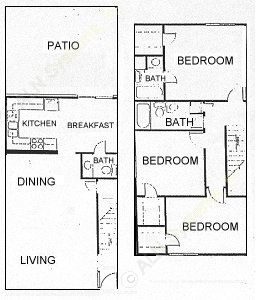 1,429 sq. ft. D floor plan