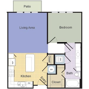 735 sq. ft. Norfolk (A1B) floor plan