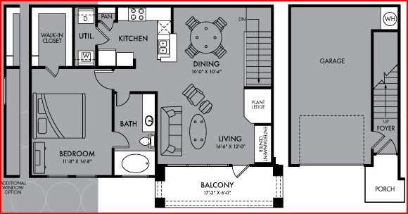 896 sq. ft. A4 floor plan