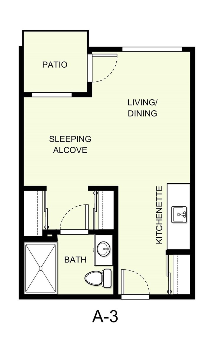 396 sq. ft. A3 floor plan