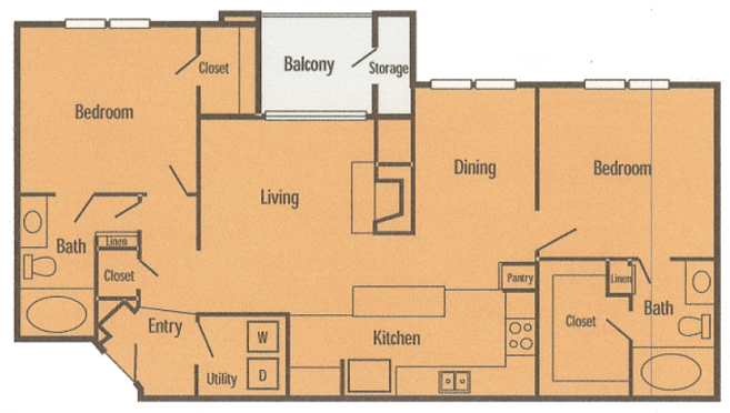 1,052 sq. ft. B2P floor plan