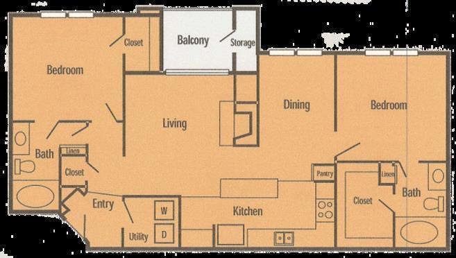 1,052 sq. ft. B2P floor plan
