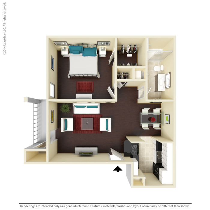 630 sq. ft. A3 floor plan