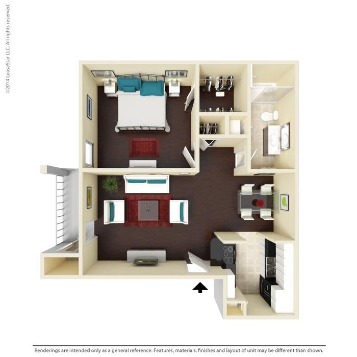 630 sq. ft. A2 floor plan